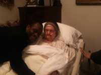 Father Maurice Emelu's visiting with Mother Angelica in 2011